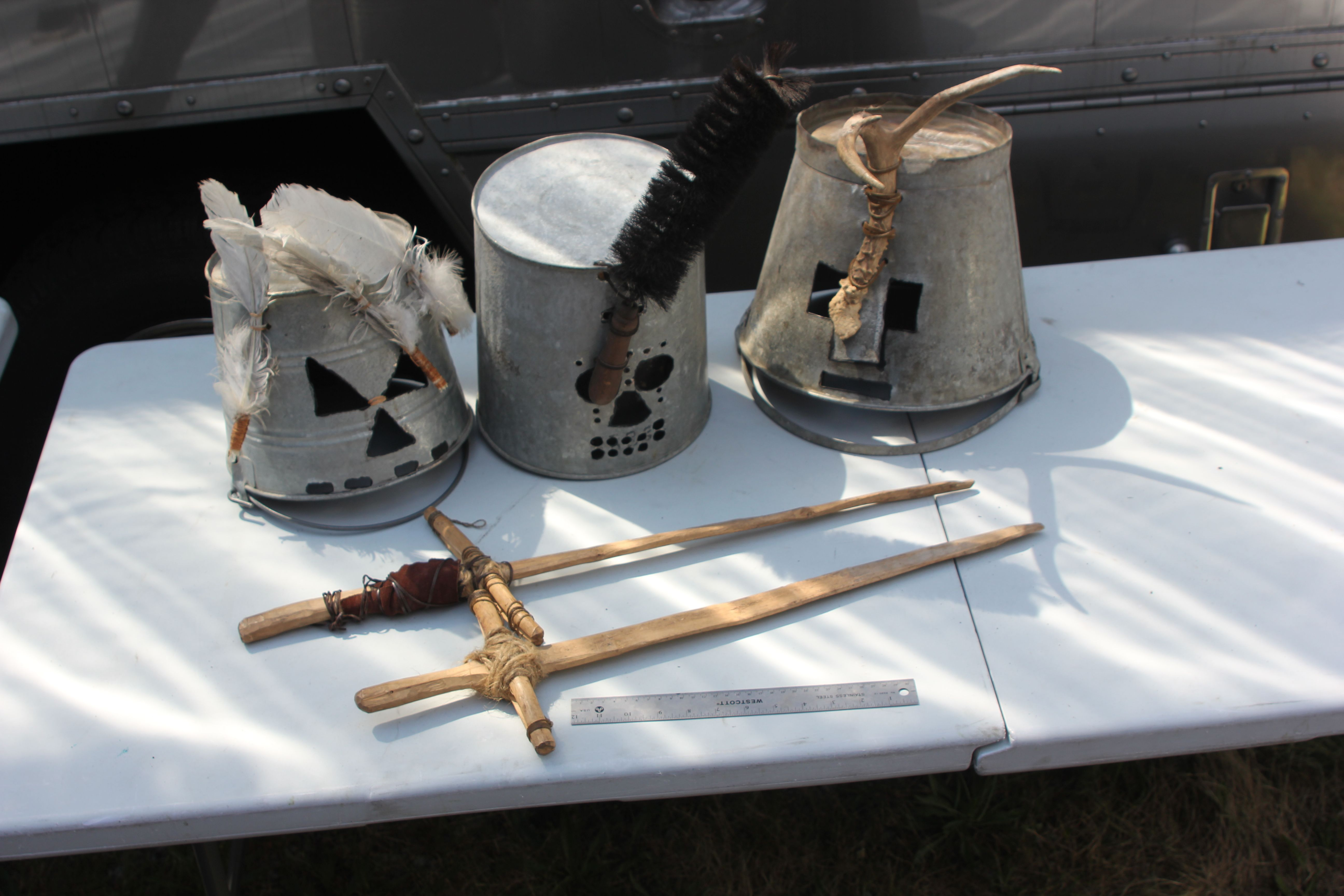 Children Period Tin Hats and Wooden Swords