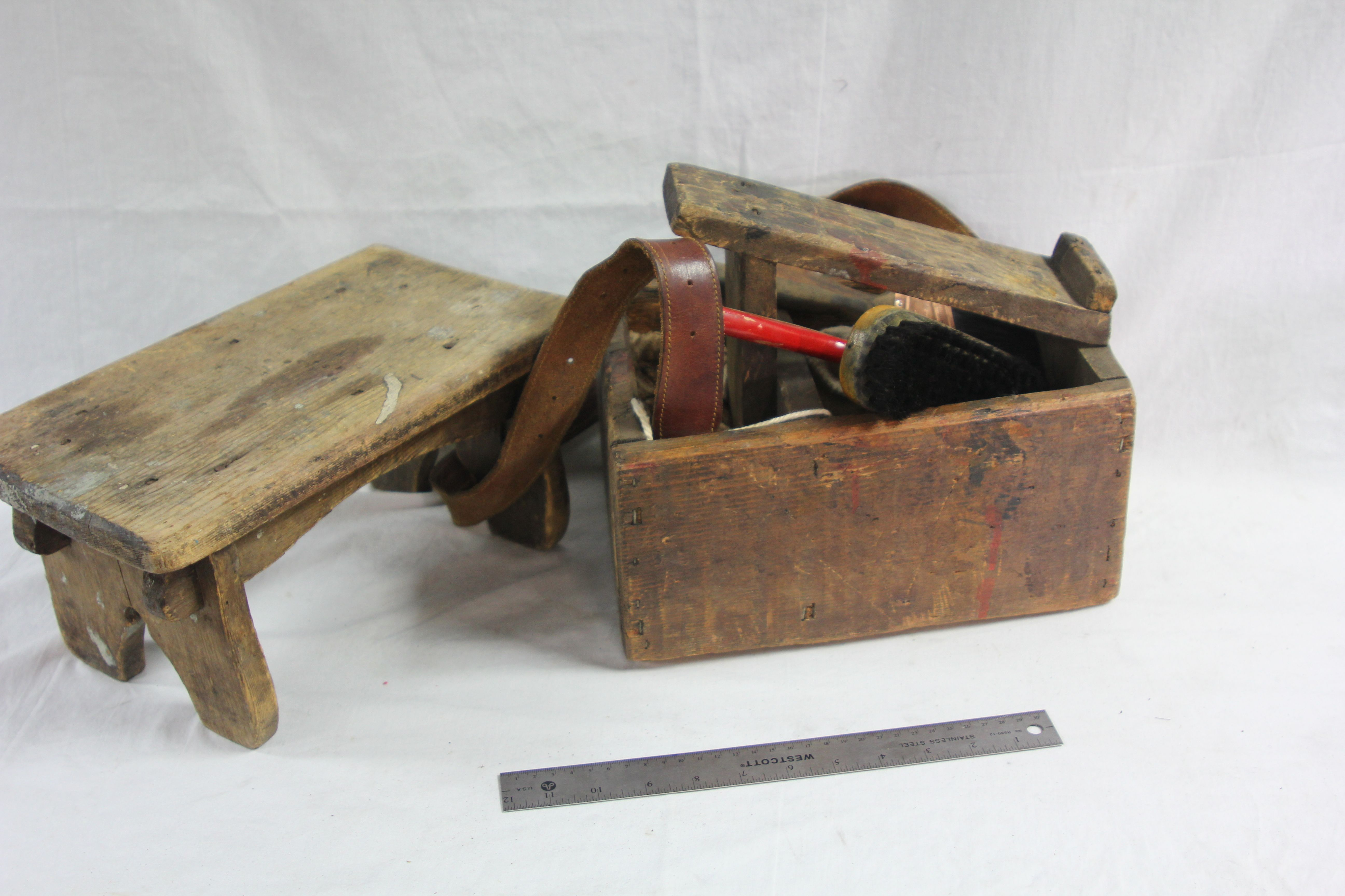 Period Shoe Shine Kit & Stool